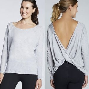 Fabletics Grey Switchback Open Back Workout Top